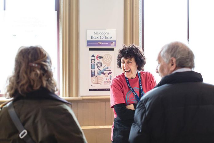A volunteer at the 2018  ReFrame Film Festival at Showplace in downtown Peterborough. Volunteer opportunities are available for the 15th annual festival that runs from January 24 to 27, 2019. (Photo: Bryan Reid)