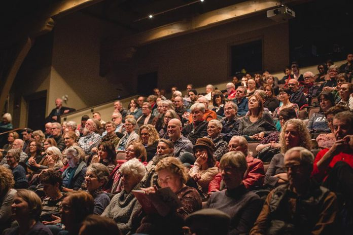 An audience gathers for a screening at the 2018 ReFrame Film Festival at the Market Hall in downtown Peterborough. The documentary film festival returns for its 15th year under new leadership from January 24 to 27, 2019, with early bird tickets and festival passes available now. (Photo: Bryan Reid)