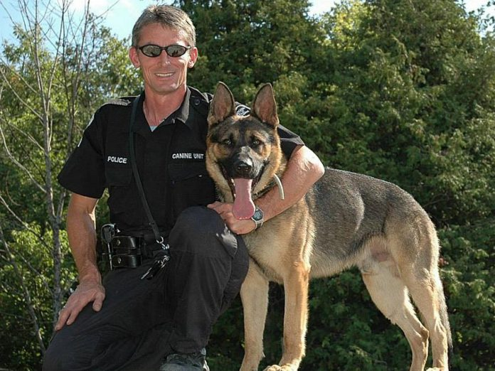 In the past, the Rotary Club of Peterborough Kawartha also funded the acquisition and training of K9 Harris, pictured here with his handler Sergeant Jeff Chartier. Harris retired in 2011 and died in 2015. (Photo: Peterborough Police Service)