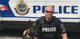 This year's annual Kawartha Rotary Christmas Auction aims to raise $28,000 for the purchase and training of Isaac, the newest member of the Peterborough Police Service's Canine Unit, pictured with his handler Constable Bob Cowie. Featuring around 250 items, the auction opens on Monday, November 19th and closes on Sunday, December 2nd. (Photo: Dean Ostrander / Rotary Club of Peterborough Kawartha)