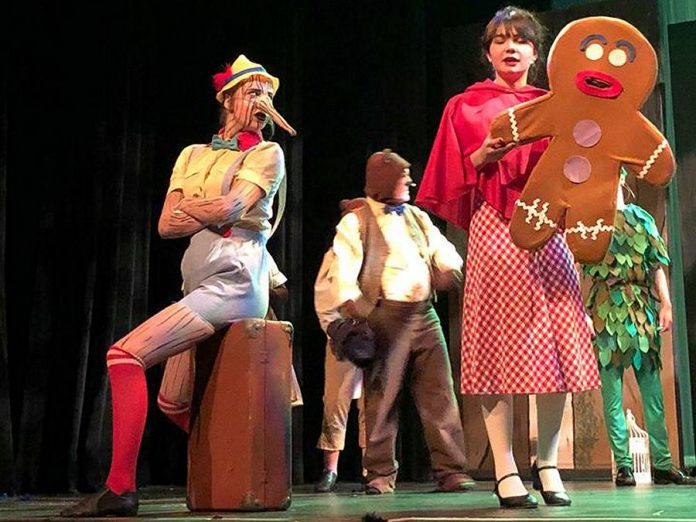 Kaitlin MacMillan as Pinocchio and Grace DeMara as Little Red Riding Hood and Gingy, some of the fairy tale characters exiled from the Kingdom of Duloc. (Photo: Avery Cantello)