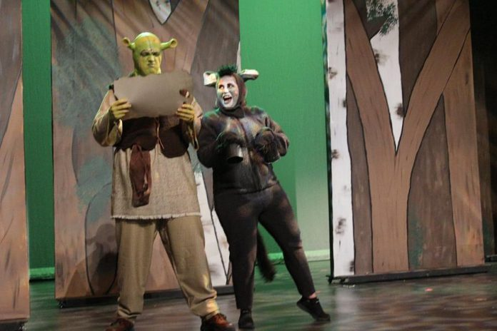 Rowan Lamoureaux as the curmudgeonly green ogre shrek Shrek with Lindsay Barr as his sassy travelling companion Donkey. (Photo: Nate Axcell)