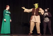 "The unlikely trio of ""Shrek: The Musical"": Elizabeth Moody as Princess Fiona, Rowan Lamoureaux as Shrek, and Lindsay Barr as Donkey. The St. James Players production of the Tony-nominated musical runs from November 8 to 17 at Showplace Performance Centre in downtown Peterborough. (Photo: Sam Tweedle / kawarthaNOW.com)"