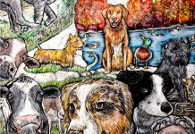 """A detail from """"Unlimited"""", Peterborough artist Lisa Martini-Dunk's scratchboard piece that has been selected for the official poster for National Purebred Dog Day on May 1, 2019. (Photo: National Purebred Dog Day)"""