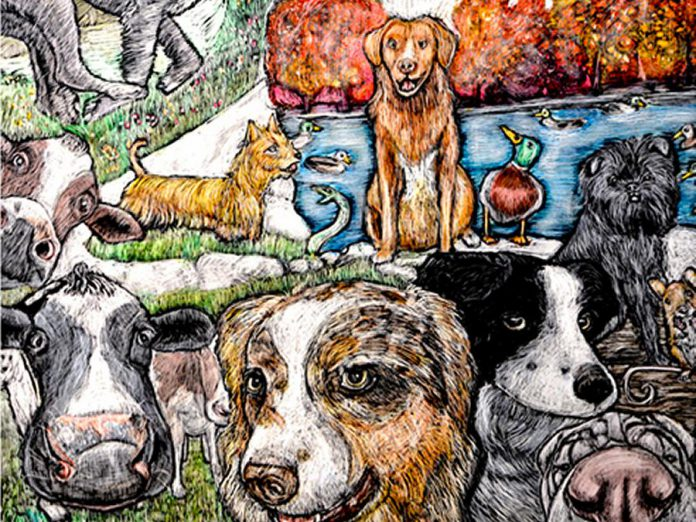 "A detail from ""Unlimited"", Peterborough artist Lisa Martini-Dunk's scratchboard piece that has been selected for the official poster for National Purebred Dog Day on May 1, 2019. (Photo: National Purebred Dog Day)"