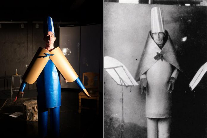 "In ""Unexploded Ordnance"", Ryan Kerr also celebrates Dadaism, the avant-garde art movement that emerged out of Switzerland in 1916 as a reaction to the war. Ryan is wearing a recreation of the same costume that Dadism founder Hugo Ball (right) wore when reciting his sound poem ""Karawane"" in 1916. The costume was reflective of the absurd and nonsensical nature of Dada, which mimicked the even more absurd world represented by the social and economic upheaval surrounding World War I. (Photo of Ryan Kerr: Andy Carroll for Public Energy)"