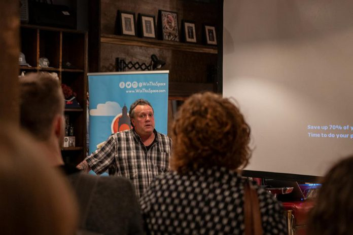 Judges and sponsors of the 2019 Win This Space competition met on November 27, 2018 to review all the videos submitted by applicants and chose the top 10 finalists. The winner will be announced on March 5, 2019. Pictured is Terry Guiel, executive director of the Peterborough DBIA, which launched the initiative three years ago. (Photo: Peterborough DBIA)