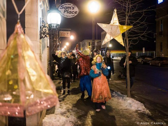 "Artist collective Atelier Ludmila is presenting ""Granny and The Starchild Winter Solstice Celebration"" on Friday, December 21, 2018 in downtown Peterborough, featuring a drummer-led lantern parade and five special stages with dancers, musicians, and puppets performing in and around Peterborough Square. Pictured is the 2017 lantern parade, led by the Starchild. (Photo: Andy Carroll)"