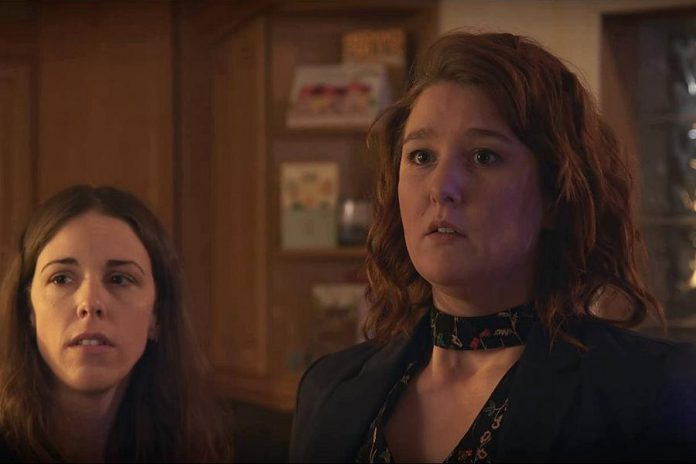"Naomi DuVall as Samantha (right) with Lindsay Unterlander in Michelle Foster's new short ""A New Year's Story"". (Photo courtesy of Oblivious Muse Films)"