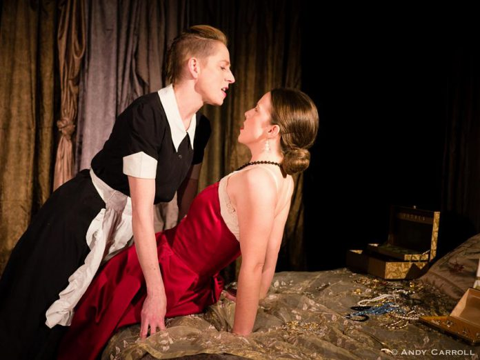 "Kate Story and Lindsay Unterlander as sisters and live-in maids Solange and Claire in an erotic role-playing scene from French playwright Jean Genet's 1947 play ""The Maids"" at The Theatre on King in downtown Peterborough. (Photo: Andy Carroll)"