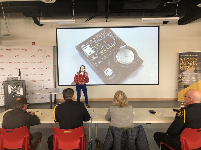 "Amy Arthur has won the second installment of the ""Pitch to the Chief"" competition in Cobourg for her hands-free personal safety device. (Photo: Venture13 / NCFDC)"
