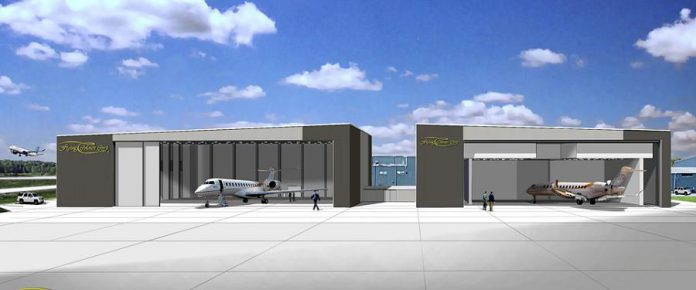 A rendering of the Flying Colours' new 100,000-square-foot hanger at the Peterborough Airport, which is slated to be open by mid-2019. (Illustration: Flying Colours Corp)