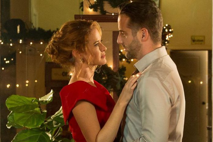 Sarah Drew and Niall Matter in a scene from Christmas Pen Pals. The new TV movie, based on a screenplay written by Peterborough native Carley Smale, will premiere on December 15th in the United States on the Lifetime channel, followed by the Canadian premiere on December 22nd on Super Channel.   (Supplied photo)