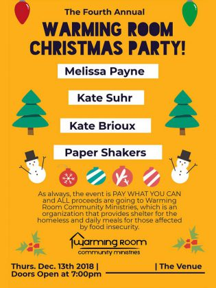 The fourth annual Warming Room Christmas Party on December 13, 2018 is a fundraiser for Warming Room Community Ministries.