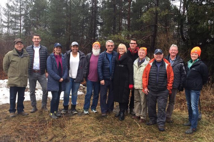 Donors David and Sharon Cation with staff and volunteers of Kawartha Land Trust. From left to right: Mike McMurtry, Mike Hendren, Tara King, Patricia Wilson, Brian Preiswersk, David Cation, Sharon Cation, Thom Unrau, Guy Wagner, Ralph McKim, Bill Crins, and Anna Lee. (Photo courtesy of Kawartha Land Trust)
