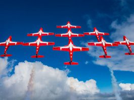 The Canadian Forces Snowbirds flying nine jets in the big diamond bottom side formation. The aerial demonstration team will be performing at the Peterborough Airport's air show in September 2019, part of the airport's 50th anniversary celebrations. (Photo: Corporal Sebastian Boucher)