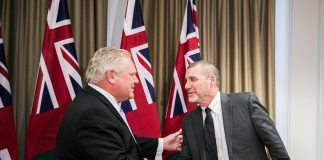 Premier Doug Ford welcomes Kawartha Lakes Mayor Andy Letham to a one-on-one meeting at Queen's Park in Toronto on December 10, 2018. (Photo: Office of the Premier)
