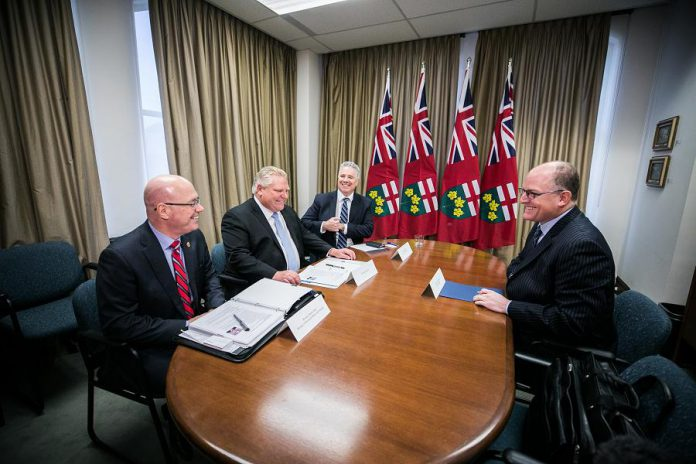 Minister of Municipal Affairs and Housing Steve Clark, Premier Doug Ford, and Chief of Staff Dean French meet with Windsor Mayor Drew Dilkens  on December 10, 2018. (Photo: Office of the Premier)