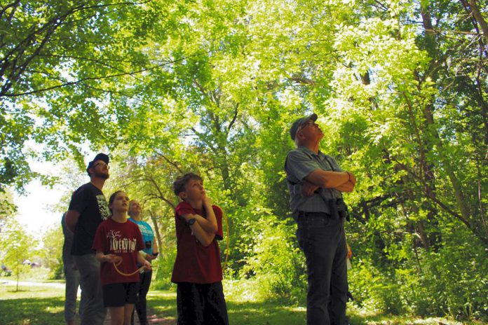 Led by local naturalist Drew Monkman, participants in this year's GreenUP Ecology Park Bioblitz try to catch a sight of the Catbirds and Vireos singing up in the tree canopy. (Photo: Karen Halley)