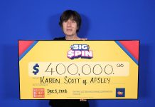 Karen Scott of Apsley with her $400,000 prize. (Photo: OLG)