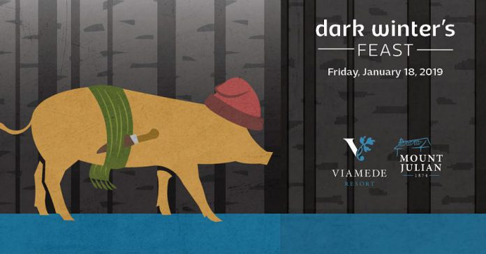 Eat as the voyageurs did, but better, at Viamede's Dark Winter's Feast. (Graphic: Viamede Resort)
