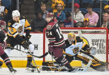 Peterborough Petes' forward Liam Kirk (14), pictured at a game against the Hamilton Bulldogs, has been featured in The New York Times. (Photo: CHL Images)