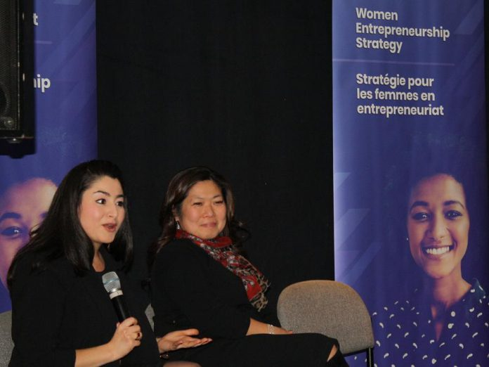 Peterborough-Kawartha MP Maryam Monsef, who is now the Minister for Women and Gender Equality, with Mary Ng, Minister of Small Business and Export Promotion, at a town hall meeting in the Nexicom Studio at Showplace Performance Centre hosted by the Women's Business Network of Peterborough on December 19, 2018. The two federal cabinet ministers met with female entrepreneurs and small business owners to discuss government supports available to women entrepreneurs across Canada. (Photo: Office of Maryam Monsef)