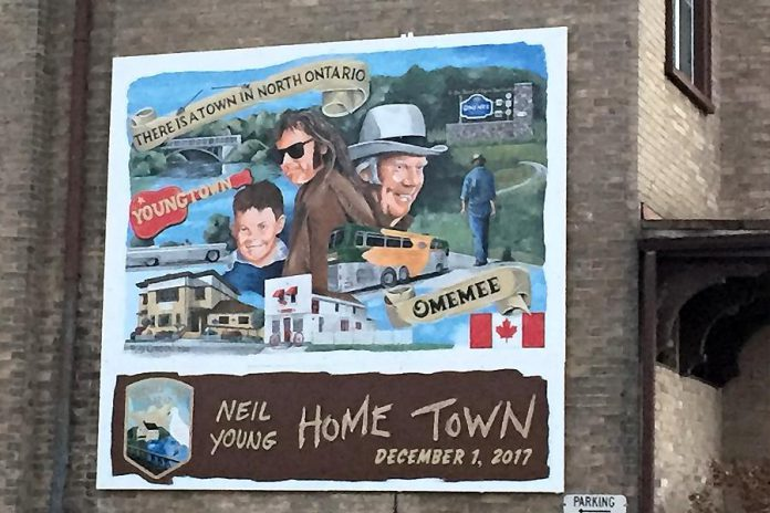 "The Neil Young mural on the side of Omemee's Coronation Hall, where Young performed his ""Home Town"" concert on December 1, 2017. (Photo courtesy of City of Kawartha Lakes)"