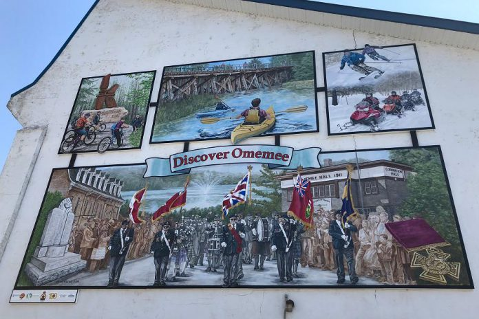 Artist Cliff Smith painted this mural, celebrating the culture and heritage of Omemee and acknowledging the service of veterans, which was installed on the Omemee Legion building Earlier earlier in 2018. (Photo courtesy of City of Kawartha Lakes)