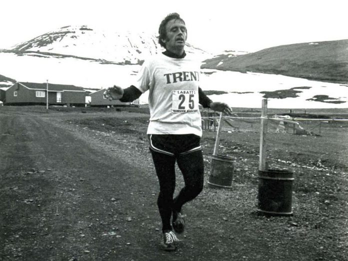 The Peter Adams Winter Run, which raises funds for cthe YMCA Strong Kids Campaign, is named in honour of the late politican Peter Adams, who was an avid runner and one of the run's original race directors. Adams is pictured here finishing the Arctic Marathon in 1979. (Supplied photo)