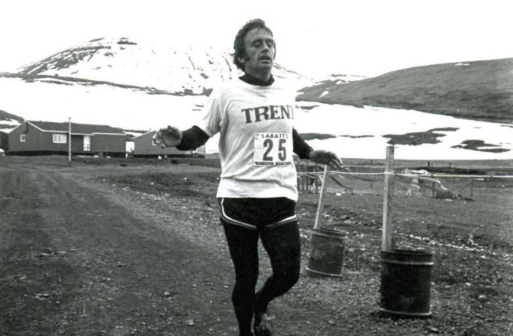 Peter Adams finishing the Arctic Marathon in 1979. Adams, who served as both a federal and provincial politician in the riding of Peterborough and was an avid runner, died on September 28, 2018 at the age of 82. (Supplied photo)