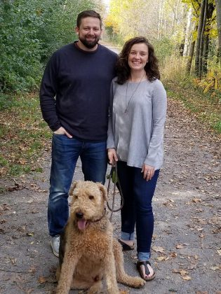 Amy Semple with her husband and their dog Angus.  (Photo: Jeremy Kelly)