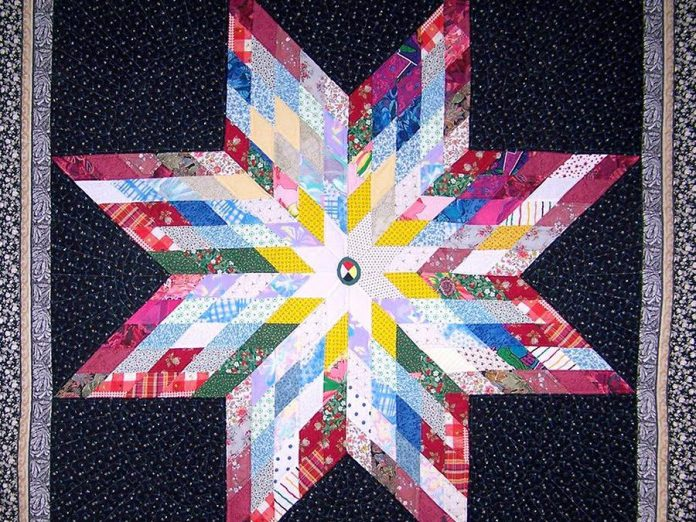 A detail of one of Alice Olsen Williams' striking quilts from her exhibition 'Star Song'. (Photo courtesy of Artspace)