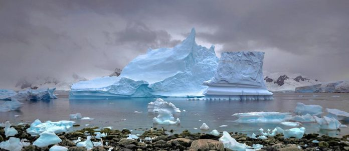 'Grounded Iceberg' (1995, archival inkjet print, 16 x 36 in) by Arnold Zageris. (Photo courtesy of Art Gallery of Peterborough)