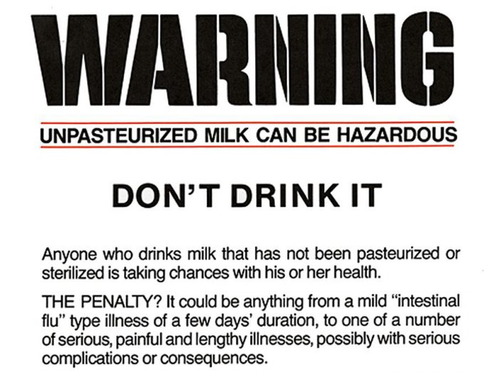 Part of a 1986 flyer from the Ontario Ministry of Health warning about drinking unpasteurized milk.  (Photo: Archives of Ontario)