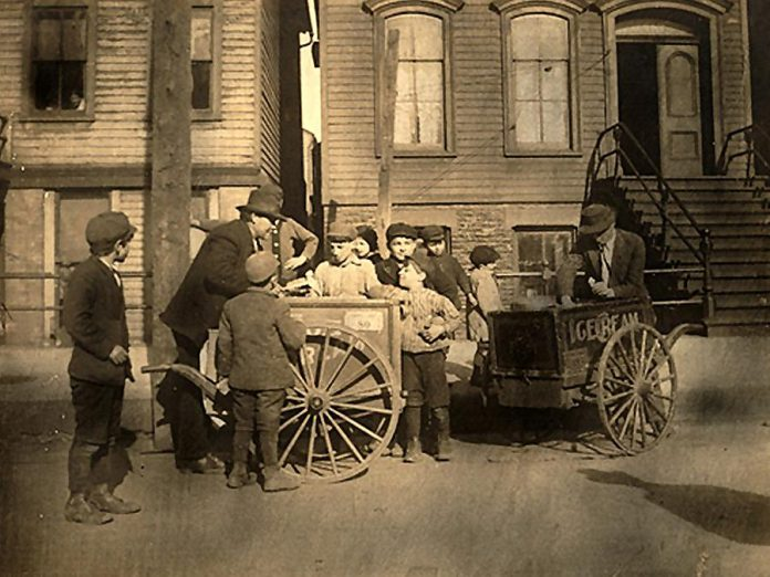 "Since the 19th century, local boards of health have played a critical role in improving the health of local residents, such as municipal bylaws to prohibit the sale of unpasteurized milk and milk products. Pictured is the sale of ""unsanitary"" ice cream circa 1905. On February 9, 2019, Peterborough Public Health and the Peterborough Historical Society are hosting a one-day conference called ""Back to the Future: 130 years of Public Health in the Kawarthas"". (Photo: Archives of Ontario)"