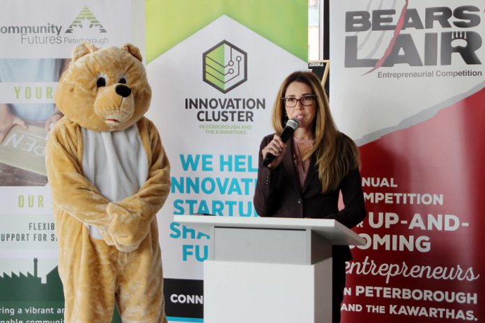 Catia Skinner, chair of the 2019 Bears' Lair Entrepreneurial Competition steering committee, announcing the details of the Bears' Lair Entrepreneurial Competition in the lobby at VentureNorth in downtown Peterborough on January 22, 2019. Unlike previous years, this year's competition will include a cash-only prize of $8,000 for each of the two winners, and $1,000 for four runners-up. The application deadline for the 2019 competition is February 26th. (Photo: Paula Kehoe)