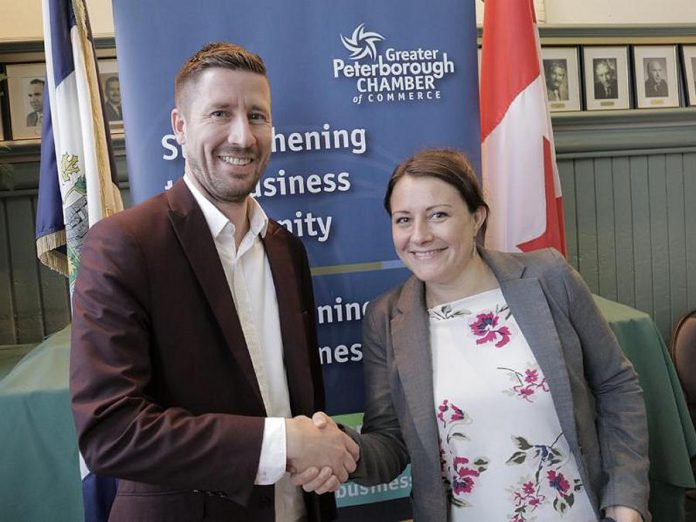 Ben vanVeen of Team vanRahan Century 21, the chair of the 2019 board of the Peterborough Chamber of Commerce, is congratulated by Peterborough Mayor Diane Therrien. (Photo: Peterborugh Chamber)