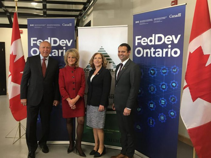Northumberland CFDC board chair Rick Holmes and executive director Wendy Curtis, Northumberland-Peterborough South MP Kim Rudd, and RueBel Ltd founder and CEO Spencer Selhi at the announcement of $1.1 million of funding from FedDev Ontario for the Northumberland CFDC's N1M program. (Photo: Northumberland CFDC)