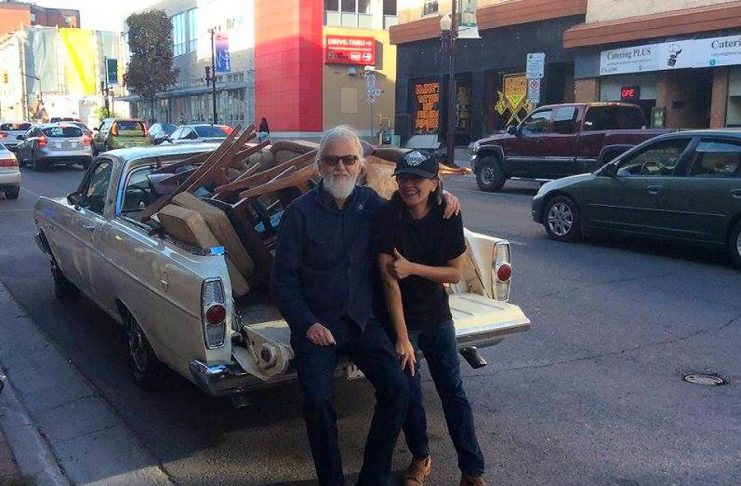 Catalina Motta with Blue Rodeo's Greg Keelor in September 2016, after Keelor purchased some vintage furniture from Motta's temporary store on Water Street. A little more than a year after closing Catalina's, her combination hair salon, vintage store, and licensed live performance space on Hunter Street West, Motta is launching a new vintage market and art studio space on Water Street called House Of Commons Vintage Market on February 1, 2019. (Photo: Megan Walker)