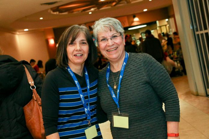 Nancy Doherty (left) and Maria Castiglione are among the volunteer members of the organizing committee for the Peterborough Family Literacy Day event. The committee starts meeting in the fall, working towards putting together an activity-packed educational event held each January at Peterborough Square. This year's 20th event will be held Saturday, January 26, 2019, from 9 a.m. to noon.  (Photo: Peter Rellinger)