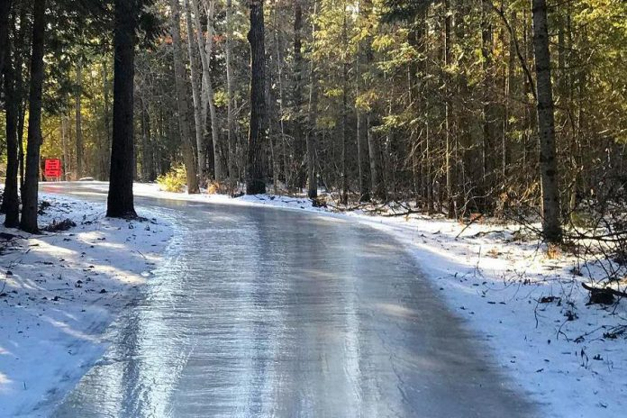 The 1.4km ice trail, which runs through Balsam Lake Provincial Park, will also be open for public skating on Sunday afternoon. (Photo: Balsam Lake Provincial Park)
