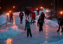 Skaters test out the 1.4km ice trail at Balsam Lake Provincial Park, which will be open to the public for one weekend only (January 26 and 28, 2019). The Frostival event takes place from 4 to 8 p.m. on Saturday night, when the trail will be lit by torches, and again from 12 to 4 p.m. on Sunday afternoon. (Photo: Fred Thornill / @kawarthavisions on Instagram)