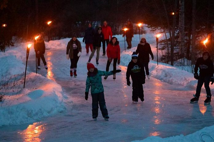 Skaters test out the 1.4km ice trail at Balsam Lake Provincial Park, which was open to the public for one weekend only in January 2019. (Photo: Fred Thornill / @kawarthavisions on Instagram)