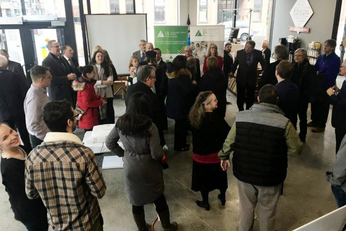 The foyer of Venture North in downtown Peterborough was a busy place Wednesday, January 16 as the members of the business community came together to celebrate the revelation of the 2019 Business Hall of Fame inductees. Each inductee will be formally inducted May 23 at The Venue at an event hosted by Junior Achievement of Peterborough Lakefield Muskoka (JA-PLM).  (Photo: Paul Rellinger / kawarthaNOW.com)