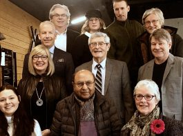 The 2019 Business Hall of Fame inductees were introduced at Venture North on Wednesday, January 16th by Junior Achievement of Peterborough Lakefield Muskoka (JA-PLM). They are, front from left, Michaela Konopaski (representing her father Michael Konopaski of Inclusive Advisory), Dr. Ramesh Makhija of R and R Laboratories, and Janet McLeod of East City Flower Shop; second row, from left, Dana Empey and Scott Stewart of Carlson Wagonlit Stewart Travel, Dave Smith of DNS Realty, and John Gillis of Measuremax; and back row, from left, Scott Stuart of Kawartha TV and Stereo (representing his father Glenn), Shelby Watt of Flavour Fashion, Providence, and S.O.S (inducted with with Mike Watt, not pictured), Scott Wood of Ashburnham Ale House, and Robert Winslow of 4th Line Theatre. (Photo: Paul Rellinger / kawarthaNOW.com)