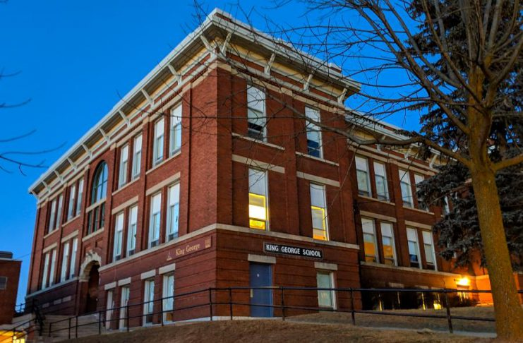 A group of concerned parents are seeking a public consultion on the Kawartha Pine Ridge District School Board's plans to temporarily close King George Public School at 220 Hunter Street East in Peterborough for renovations to create a new amalgamated school and to relocate students to a former school in Lakefield for the 2019-20 school year. (Photo: Bruce Head / kawarthaNOW.com)