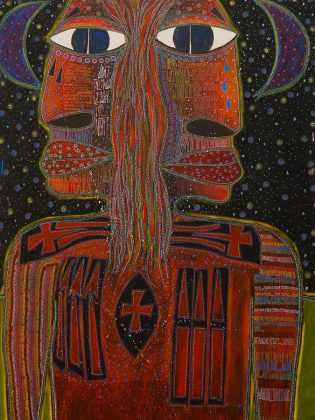 "A detail from ""The Long Road Home Kahnawake"" by Tom Wilson. The painting, which appears as the cover art of Lee Harvey Osmond's latest record ""Mowhawk"", is featured in Wilson's exhibit ""Beautiful Scars: Mohawk Warriors, Hunters and Chiefs: The Art of Tom Wilson"" at the Art Gallery of Burlington until January 27, 2019. (Photo courtesy of Tom Wilson)"