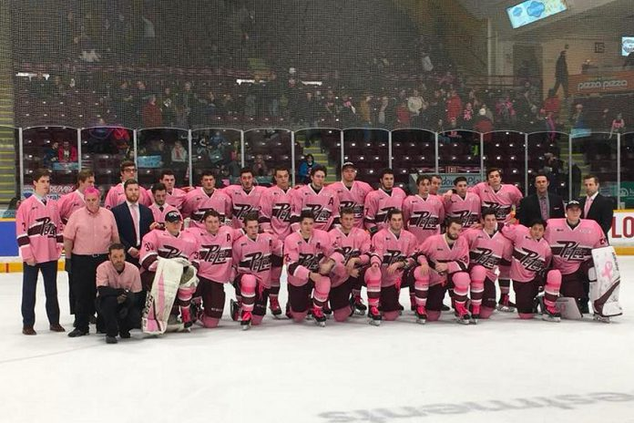 Peterborough Petes players in their pink jerseys at the 2018 Pink In The Rink game. This year's 10th anniverary game takes place on Saturday, February 2nd when the Petes take on the Oshawa Generals at the Peterborough Memorial Centre. (Photo: Pink In The Rink / Facebook)