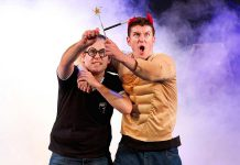 "Creators and original performers Jefferson Turner and Daniel Clarkson in ""Potted Potter: The Unauthorized Harry Experience – A Parody by Dan and Jeff"". The family-friendly hit parody of the Harry Potter book series, in which two actors recap the plot of all seven books and 360 characters in 70 minutes, comes to Peterborough for two performances at Showplace Performance Centre in downtown Peterborough on March 11 and 12, 2019. (Photo: Potted Productions / Starvox Entertainment)"